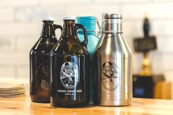 Flying Bike Brewery Growlers